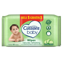 CUSSONS BABY Wipes Naturally Refreshing 50'S Buy 1 Get 1