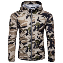 BESSKY  Men's Summer Camouflage Print Suntan-proof Pullover Hooded T-shirt Top Blouse  _