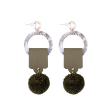 VOITTO Fashion Jewelry Vonly Strap Ball V25 Earrings [Green]
