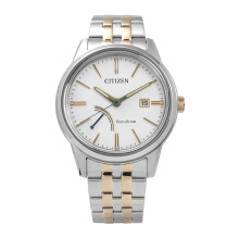 CITIZEN Eco Drive Watch - Silver Gold Strap/White Dial 41mm Gents [AW7004-57A]