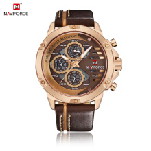 NAVIFORCE Men Watches Top Brand Luxury Waterproof 24 hour Date Quartz Watch Leather Sport Clock