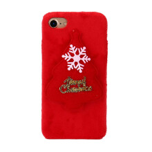 ChristmasLuxury Winter Soft Plush Warm Cute Case Cover For iPhone 7 4.7inch_ Red