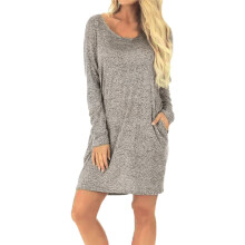 BESSKY  Women Ladies Casual Solid Backless Pocket Long Sleeve Loose Above-Knee Dress_