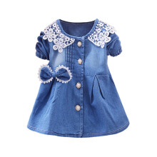 BESSKY Toddler Baby Girls Bowknot Lace Long Sleeve Princess Denim Dress Outfits_