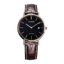 CITIZEN Eco Drive Watch - Brown Leather Strap/Black Dial 40mm Gents [AU1083-13H]