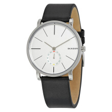 Skagen Hagen Silver Dial Black Leather Strap [SKW6274] Black