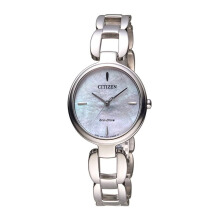 CITIZEN Eco Drive Watch - Silver Strap/Pearl Dial 30mm Ladies [EM0420-89D]