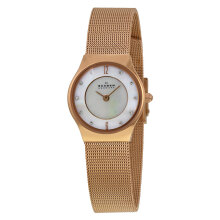 Skagen Slimline Pearl Dial Rose Gold Stainless Steel Strap Watch [233XSRR] Rose Gold
