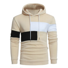 BESSKY Men Long Sleeve Hoodie Stitching Color Coat Jacket Outwear Sport Tops _