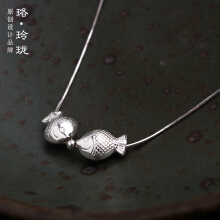 Luo Ling Long Silver kiss mouth fish necklace