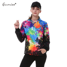 Fashionmall Gamiss Paint Splatter Print Long Sleeve Pullover Hoodie