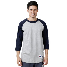 CHAMPION Raglan Baseball T-Shirt - Oxford Grey/Navy