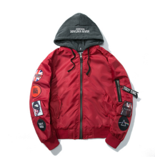Ins V-403HP Trendy brand new Simple Design Pilot baseball jacket with Hood&Plus Cotton-Red