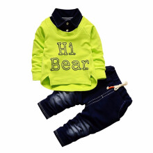 BESSKY  2PC Kids Sports Kids Long Shirt Tops + Pants Jeans Casual Spring Set Outfit_