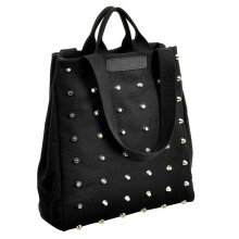 BESSKY Fashion Rivet Women Casual Canvas Shoulder Bags Ladies Top-Handle Tote_ Black