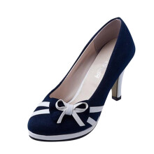 BESSKY Women's Spring Fashion Round Toe Shoes Bowknot Shallow High-Heeled Shoes_