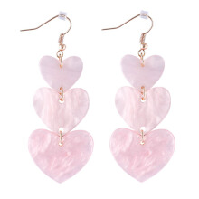 VOITTO Fashion Jewelry Heart Drop D2 Earrings [Pink]