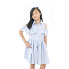 CURLY Opening Shoulder Dress Blue - LYD010B018B