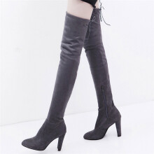 BESSKY Women Stretch Faux Slim High Boots Over The Knee Boots High Heels Shoes_