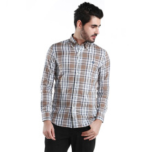 Fredperry Men Brown Checkers Long Sleeve Shirt - XL Size