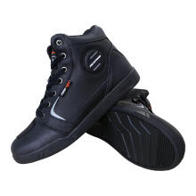RESPIRO D-Trenz Ultra Leather Sepatu Touring - Black/Black