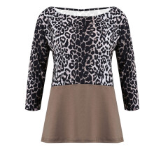 BESSKY Women Leopard Print Casual Cold Shoulder Shirt Ladies Long Sleeve Top Blouse_