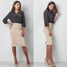 Fashionmall Kenancy Womens Split Vintage Suede Bodycon Skirt High Waist Knee Length
