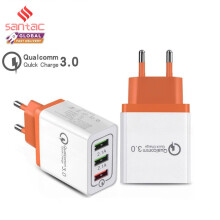 Santac 3 Port USB Fast Charger Quick Charging 3.0 For iphone Samsung xiaomi OPPO vivo White-Orange