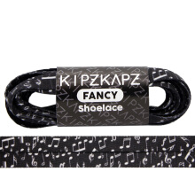 KIPZKAPZ XS6 Flat Printed Shoelace - Black Music [8mm]