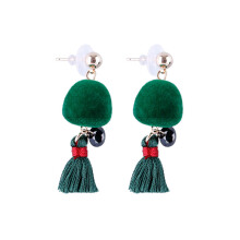 VOITTO Fashion Jewelry Vonly Pompom Tassel V19 Earrings [Green]