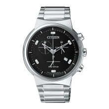 CITIZEN Eco Drive Watch - Silver Strap/Black Dial 41mm Gents [AT2400-81E]