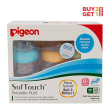 PIGEON Botol P-Plus Nipple Wide Neck 160ml Paket Beli 2 Gratis 1 - Biru-Orange-Hijau