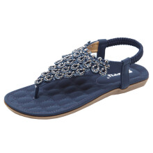 BESSKY Women Flat Shoes Bead Bohemia Lady Slippe Sandals Peep-Toe Outdoor Shoes_