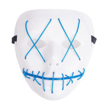 Real Bubee LED Light Up Funny From Purge Election Great Halloween Mask LIGHT SKY BLUE