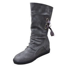 BESSKY Ladies Womens Low Wedge Buckle Biker Ankle Trim Flat Ankle Boots Shoes_