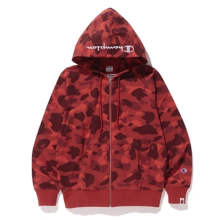 Bape X Champion Color Camo Zip Hoodie - Red size M