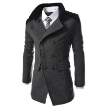 BESSKY Men Jacket Warm Winter Trench Long Outwear Button Smart Overcoat _