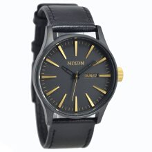 Nixon Leather Strap Mens A1051041-2340D42HTGL Analog Date Hitam Gold Black