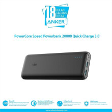 [free ongkir]Anker Powerbank PowerCore 20000mAh Quick Charge 3.0 Hitam - A1278H11