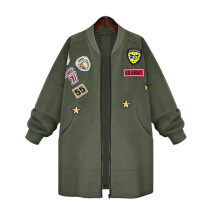 Autumn Womens Bomber Jecket Plus Size 3D Print Zipper Patched Badges Long Baseball Outwear Coats