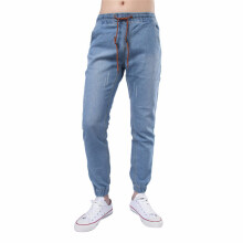BESSKY Men's Jeans Drawstring Tight Cuffs Vintage Comfy Denim Pant _