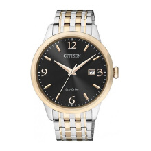 CITIZEN Eco Drive Watch - Silver Gold Strap/Black Gold Dial 40mm Gents [BM7304-59E]
