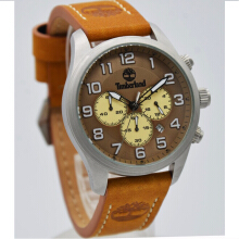 Timberland Leather Strap Mens 15014JS-20A-1630D43CKTSL Analog Chronograph Coklat Silver Brown
