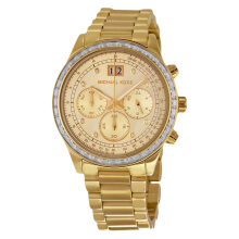 Michael Kors Brinkley Chronograph Gold Dial Gold-tone Ladies Watch [MK6187]