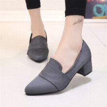 BESSKY Women's Spring Casual Shoes Frosted Suede Pointed Toe Shallow Shoes_