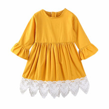 BESSKY Children Infant Kids Girls Solid Plare Patchwork Lace Tutu Dress Outfit Clothes_