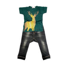 Tiny Button Toddler Boy Rusa Celana Setelan Pakaian Anak - Green Black