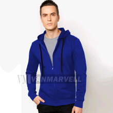 VM Jaket Polos Hoodie Zipper Fleece Korean Biru Benhur