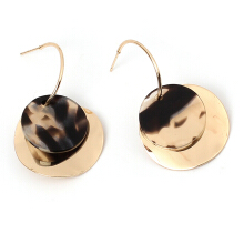 Irregular Sequined Geometric Resin Fashion Multi-layered Round Earrings Golden
