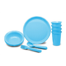 TECHNOPLAST Picnic Set ( Bowl, Plate, Glass, Spoon & Fork @4 Pairs ) Biru